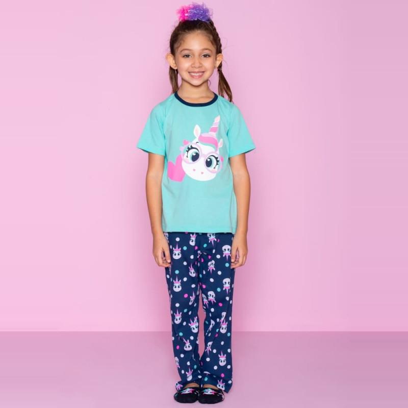 9294beb7db7ca0 Pijama Unicórnio Puket Manga Curta Feminino Kids Verde Água OUT18 ...