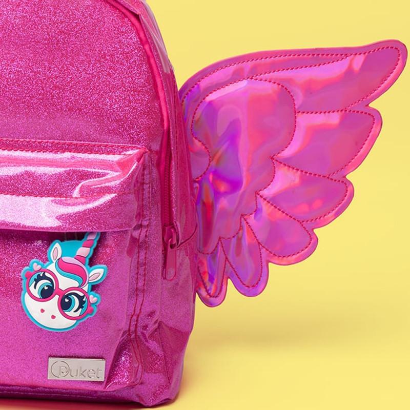 0173d9280 Kit Mochila P. + Lancheira + Estojo + Nécessaire + Fichário Unicórnio  Glitter Rosa. Passe o mouse para ver mais detalhes Ampliar imagem