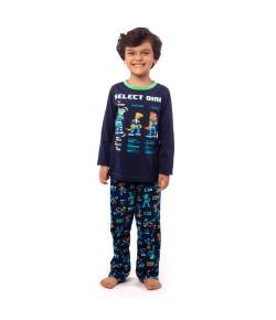 Pijama Ml Kids Puket 1/2 Malha Dino Elite Inv20 Marinho