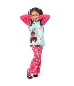 Pijama ML Kids Visco Lhama Choco Puket INV20 Rosa