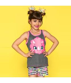 Pijama Curto Puket Blusa Regata e Short Doll Dina Cinza - 030501362