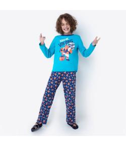 Pijama Manga Longa Urso Viking Teen 1/2 Puket Azul 030501808