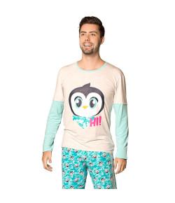 Pijama M/L Masc. M/C Puket Pinguim Verde Água