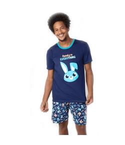 Pijama Short Doll Puket Adulto Visco Eco Coelho Marinho
