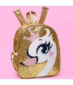 Mochila Pequena Puket Cisne Glitter Dourado - 050401480