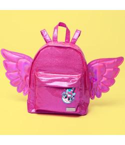Mochila Escolar Pequena Puket Unicórnio Asas Glitter Pink - 050401665