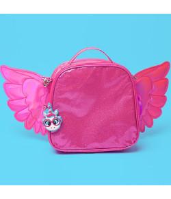 Lancheira Escolar Puket Unicórnio Asas Glitter Pink - 050401666