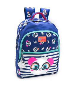 Mochila Escolar Grande Puket Panda Azul ABR19 - 050401701