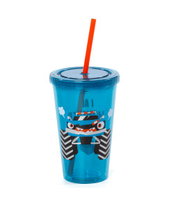 Copo com Canudo Puket Monster Car Azul 500ml - 050401787