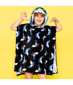 Toalha Infantil Poncho com Capuz Puket Tubarão Preto OUT18 - 100400190