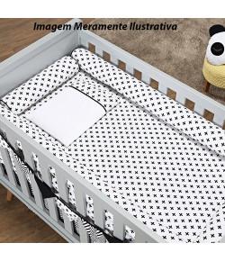 Kit Berço Batistela Baby Rolinho 07 Peças Cruzinha Preto (Padrão Americano) - 10089