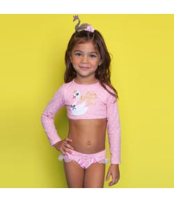 Biquini Cropped Kids Puket Cisne Rosa - 110400435