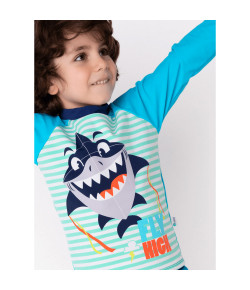Camiseta Kids Tubarão ML Puket Azul Claro