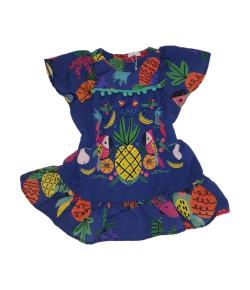 Vestido Mon Sucré Frutas e Pompom Azul Escuro V19 - 13.13.31052