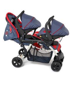 Carrinho de Bebê Para Gêmeos Travel System Galzerano Doppio Jeans + Base Preta