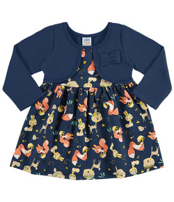 Vestido Manga Longa Bebê Marlan Azul Marinho INV19 - 20334