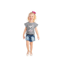 Blusa Infantil Manga Curta Angerô Cute as a Cat Cinza