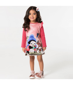 Vestido Manga Longa Marlan Pinguim Rosa INV19 - 22428