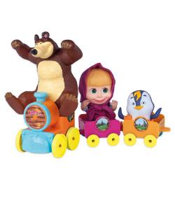 Bonecos Cotiplás Masha e o Urso no Trenzinho