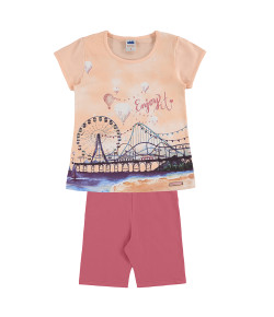 Conjunto Infantil Marlan Blusa e Shorts Enjoy It Damasco