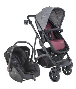 Carrinho de Bebê Travel System Kiddo Explorer Vinho + Casulo Click