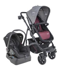 Carrinho de Bebê Travel System Kiddo Explorer Vinho + Casulo Click + Base