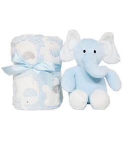 Kit Gift Manta + Pelúcia Buba Elefante Azul - 5965