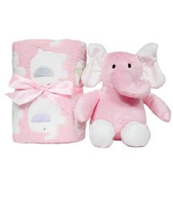 Kit Gift Manta + Pelúcia Buba Elefante Rosa - 5965