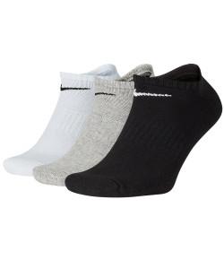 Meia Curta Tripack Nike Everyday Cush NS 3 PR Branco, Preto e Cinza Tamanho: 34 a 38