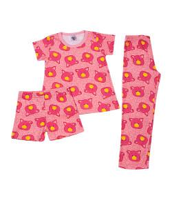 Pijama 3 Peças Tip Top Blusa MC + Calça + Short Porquinho Rosa V20 2145006