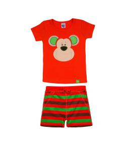 Pijama Tip Top Blusa MC + Short Macaco Laranja 2145007