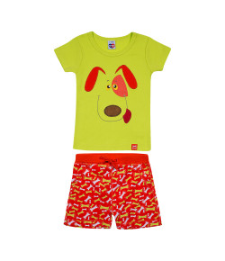 Pijama Tip Top Blusa MC + Short Cachorro Verde 2145007