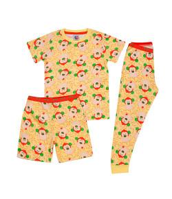 Pijama 3 Peças Tip Top Blusa MC + Calça + Bermuda Macaco Amarelo V20 2145008