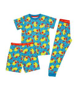 Pijama 3 Peças Tip Top Blusa MC + Calça + Bermuda Cachorro Azul 2145008