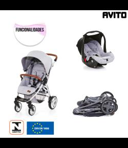 Travel System Avito + Bebê Conforto Graphite Grey + Adaptador ABC Design