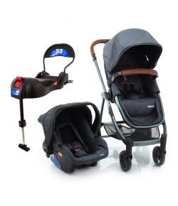 Carrinho de Bebê Travel System Epic Lite Duo Infanti Grey Vintage (Detalhes em Couro)