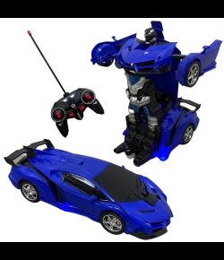 Carrinho de Controle Remoto Vira Robô 1:18 Importway Azul