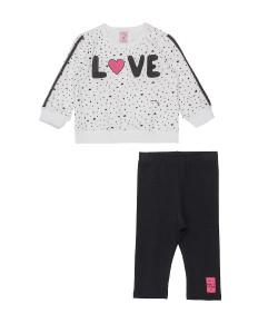 Conjunto Blusão e Legging Poa Cute Love Momi