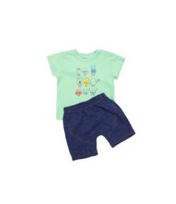 Conjunto Camiseta Manga Curta e Bermuda Alphabeto Verde V21 52395