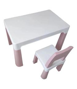 Conjunto Mesa 77 X 50 X 54cm E 1 Cadeira 28 X 28 X 55cm Rosa