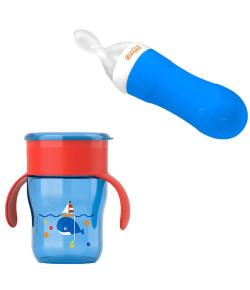 Kit Alimentação Avent Copo 360° + Colher Dosadora Comtac Azul