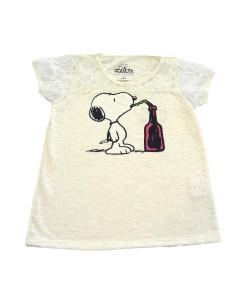 Camiseta Ellus Kids Snoopy Detalhes em Renda - 04KD192