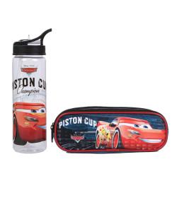 Kit Escolar Estojo Duplo + Garrafa Dermiwil Carros Piston Cup (51810+51812)