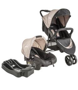 Carrinho de Bebê Travel System Trio Preto e Cappuccino + Base Lenox Whoop