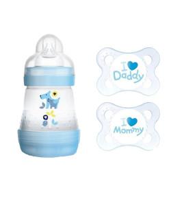 Kit Mam Mamadeira First Bottle 160ml + Chupeta Mom & Dad 0 a 6 meses Azul (2931+4661)