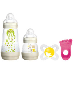 Kit Mamadeira Mam First Bottle 130ml+260ml + Chupeta + Mordedor (4651-4653-2205-7229)