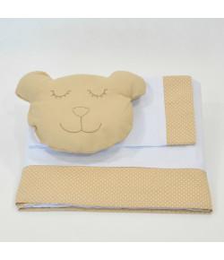 Lençol de Berço Lala Lipe Urso Carinhoso Bege 4 Peças - LBT4085