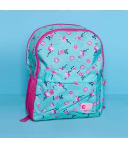 Mochila Escolar Puket Flamingo Verde Água - 050401409