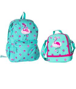 Kit Escolar Mochila + Lancheira Puket Flamingo Poa Verde Água