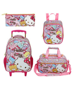 Kit Escolar Mochilete 16 + Lancheira + Estojo + Sacola Hello Kitty Tiny Bears (7860+7864+7866+7867)
